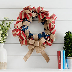 American Flag Burlap Wreath