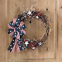 Berries and Stars Wreath with Patriotic Bow