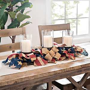 Patriotic Burlap American Flag Centerpiece