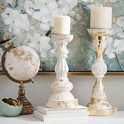 Distressed White and Gold Foil Candlestick, 13 in.