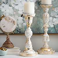 Distressed White and Gold Foil Candlestick, 15 in.