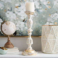 Distressed White and Gold Foil Candlestick, 19 in.