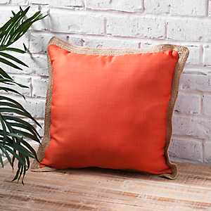 Orange Pillow with Jute Trim