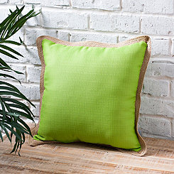 Verdi Green Pillow with Jute Trim