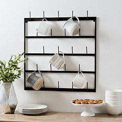 Distressed Metal Wall Mug Rack