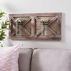 Barn Door Wall Plaque with Glass Vases