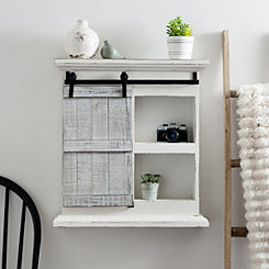 White Sliding Barn Door Wall Shelf