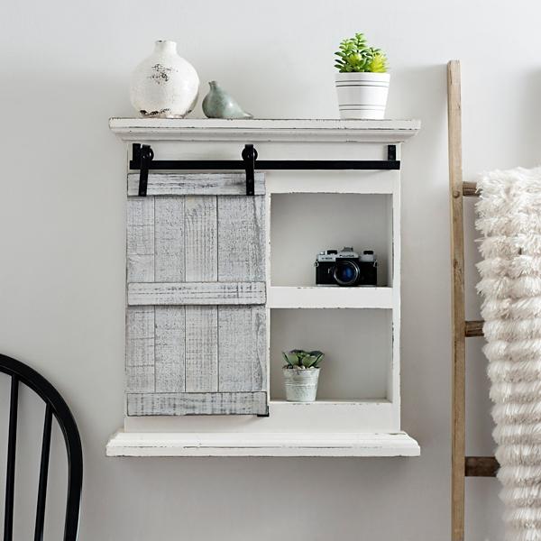 White Sliding Barn Door Wall Shelf