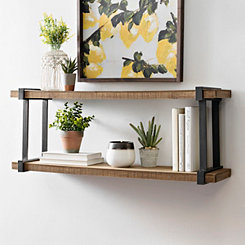 Rustic Wood with Metal Frame Two Level Wall Shelf