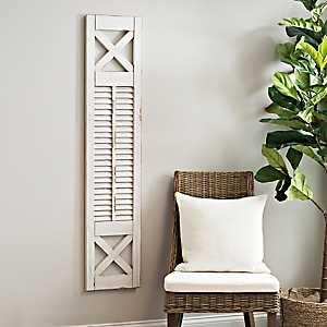 White Shutter Panel Wood Wall Plaque