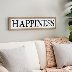 Happiness Framed Wood and Metal Wall Plaque