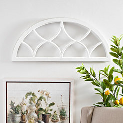 White Paned Arch Wood Wall Plaque
