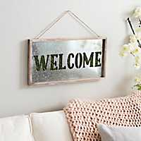 Welcome Galvanized Faux Green Moss Wall Plaque