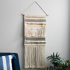Embellished Gold Macrame Wall Hanging