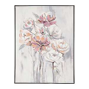 Salmon Rose Floral Bunch Framed Canvas Art Print