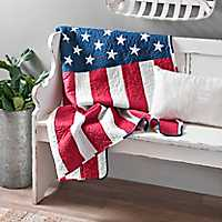 American Flag Quilted Throw