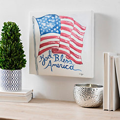 God Bless America Flag Canvas Art Print