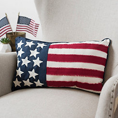 Embroidered Flag Accent Pillow
