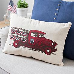 Vintage Truck with Bunting Accent Pillow