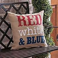 Red, White, and Blue Burlap Pillow