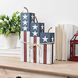 Stars and Stripes Wooden Firecrackers, Set of 3
