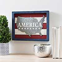 Galvanized America Wood Block