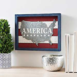 Galvanized America Wood Block