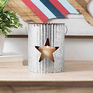 Red Star Galvanized Metal Lantern