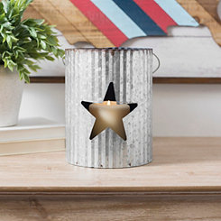 Blue Star Galvanized Metal Lantern