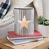 White Star Galvanized Metal Lantern