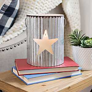 White Star Galvanized Metal Lantern