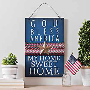 God Bless America Hanging Wall Plaque