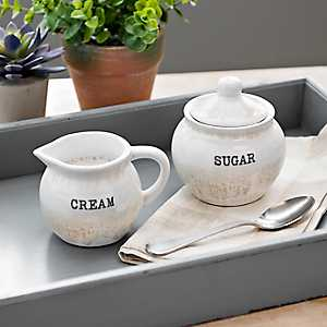Reactive Taupe Ceramic Cream and Sugar Set