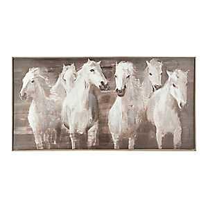 White Horses Framed Canvas Art Print