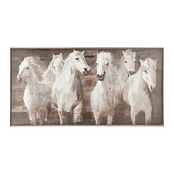 White Horses Framed Canvas Art Print