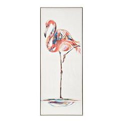Mosaic Flamingo Framed Canvas Art Print