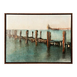 A Day at the Pier Framed Canvas Art Print