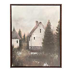 Woodland Barns Framed Canvas Art Print