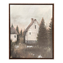 Woodland Barns Framed Canvas Art Print