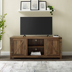 Rustic Oak Barn Doors Media Cabinet