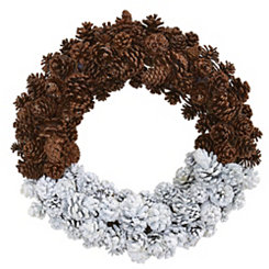 Frosted Glitter Pine Cone Wreath