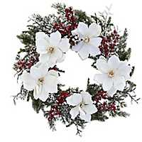 Frosted Magnolia and Berry Wreath