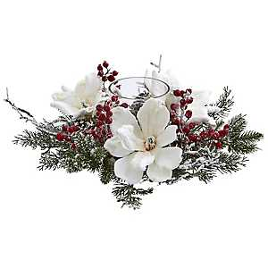 Frosted Magnolia Berry Candle Holder