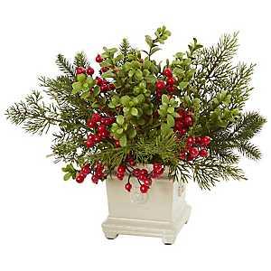 Holiday Berry Arrangement in Antique Planter