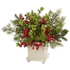Holiday Berry Arrangement in Antique Planter