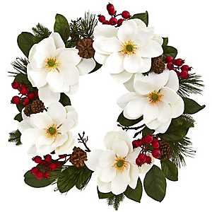 Winter Magnolia and Berry Wreath