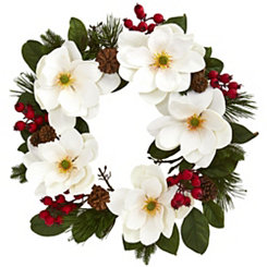 Winter Magnolia and Berry Wreath