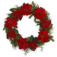 Poinsettia Pine Cone Wreath, 36 in.