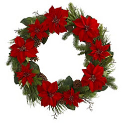 Poinsettia Pine Cone Wreath, 36 in.