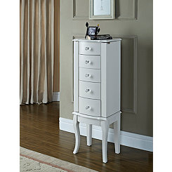 Petite White Jewelry Armoire with Crystal Knobs